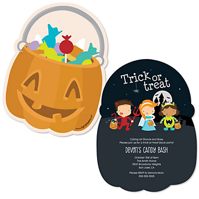 Trick or Treat - Shaped Halloween Party Invitations