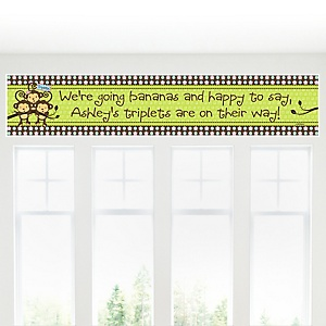 Triplet Monkeys 2 Boys & 1 Girl - Personalized Baby Shower Banners