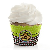Triplet Monkeys 2 Boys & 1 Girl - Baby Shower Cupcake Wrappers