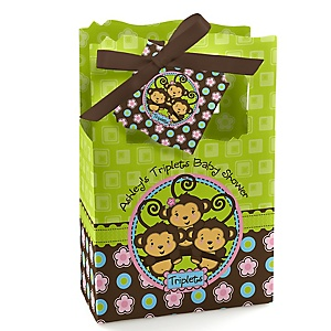Triplet Monkeys 2 Boys & 1 Girl - Personalized Baby Shower Favor Boxes