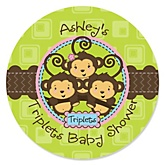Triplet Monkeys 2 Boys & 1 Girl - Personalized Baby Shower Round Sticker Labels - 24 Count