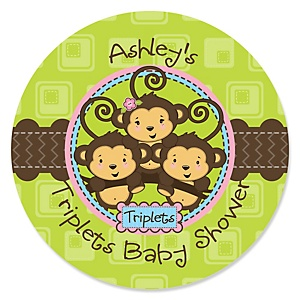 Triplet Monkeys 2 Boys & 1 Girl - Personalized Baby Shower Sticker Labels - 24 ct