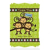 Triplet Monkeys 2 Boys & 1 Girl - Personalized Baby Shower Thank You Cards