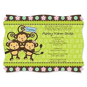 Triplet Monkeys 2 Girls & 1 Boy - Personalized Baby Shower Invitations