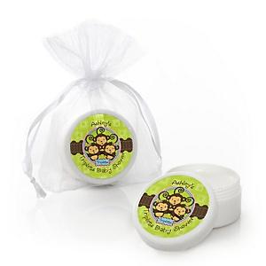 Triplet Monkeys 2 Girls & 1 Boy - Personalized Baby Shower Lip Balm Favors