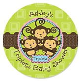 Triplet Monkeys 2 Girls & 1 Boy - Personalized Baby Shower Round Sticker Labels - 24 Count