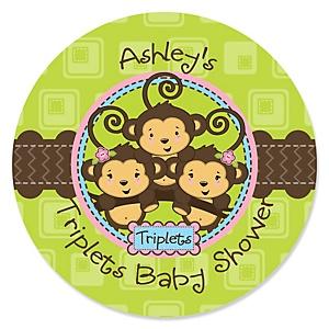 Triplet Monkeys 2 Girls & 1 Boy - Personalized Baby Shower Sticker Labels - 24 ct