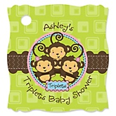 Triplet Monkeys 2 Girls & 1 Boy  - Personalized Baby Shower Tags - 20 Count