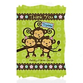 Triplet Monkeys 2 Girl & 1 Boy - Personalized Baby Shower Thank You Cards