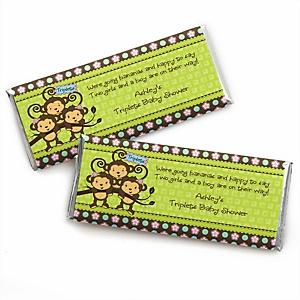 Triplet Monkeys 2 Girls & 1 Boy - Personalized Baby Shower Candy Bar Wrapper