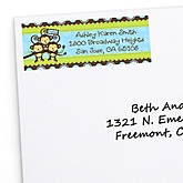 Triplet Monkey Boys - Personalized Baby Shower Return Address Labels - 30 Count