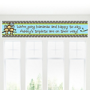 Triplet Monkey Boys - Personalized Baby Shower Banner