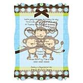 Triplet Monkey Boys - Vellum Baby Shower Invitations