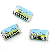Blue Triplet Monkey Boys - Personalized Baby Shower Mini Candy Bar Wrapper Favors - 20 ct