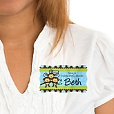 Triplet Monkey Boys - Personalized Baby Shower Name Tag Stickers - 8 Count