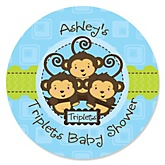 Triplet Monkey Boys - Personalized Baby Shower Round Sticker Labels - 24 Count