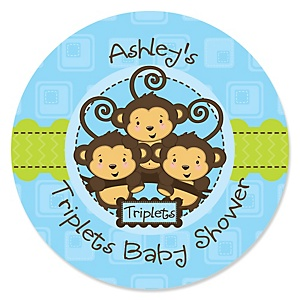 Triplet Monkey Boys - Personalized Baby Shower Sticker Labels - 24 ct