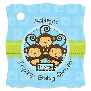 Triplet Monkey Boys - Personalized Baby Shower Tags - 20 Count