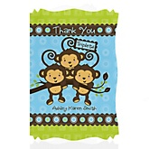 Triplet Monkey Boys - Personalized Baby Shower Thank You Cards