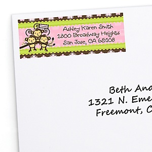 Triplet Monkey Girls - Personalized Baby Shower Return Address Labels - 30 Count