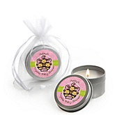 Triplet Monkey Girls - Candle Tin Personalized Baby Shower Favors