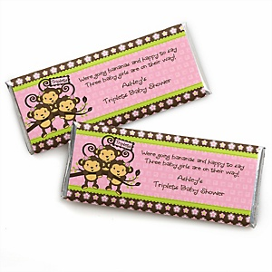 Triplet Monkey Girls - Personalized Baby Shower Candy Bar Wrapper