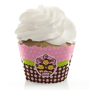 Triplet Monkey Girls - Baby Shower Cupcake Wrappers