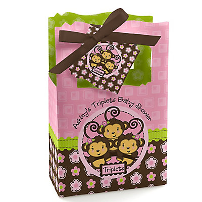 Triplet Monkey Girls - Personalized Baby Shower Favor Boxes...
