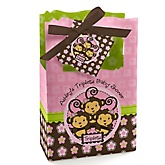 Triplet Monkey Girls - Personalized Baby Shower Favor Boxes