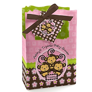 Pink Triplet Monkey Girls - Personalized Baby Shower Favor Boxes