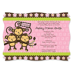 Pink Triplet Monkey Girls - Personalized Baby Shower Invitations