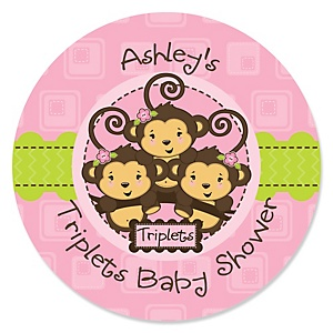 Triplet Monkey Girls - Personalized Baby Shower Round Sticker Labels - 24 Count