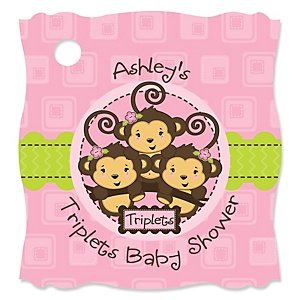 Triplet Monkey Girls - Personalized Baby Shower Tags - 20 Count