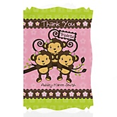 Triplet Monkey Girls - Personalized Baby Shower Thank You Cards