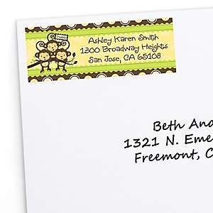 Triplet Monkeys Neutral - Personalized Baby Shower Return Address Labels - 30 Count