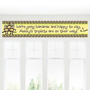 Triplet Monkeys Neutral - Personalized Baby Shower Banner