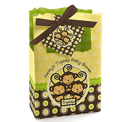 Triplet Monkeys Neutral - Personalized Baby Shower Favor Box...
