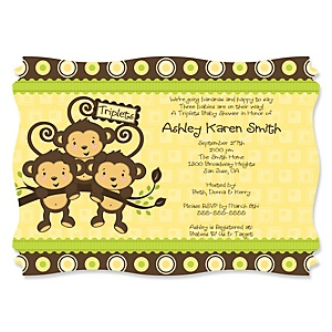 Triplet Monkeys Neutral - Baby Shower Invitations