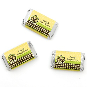 Triplet Monkeys Neutral - Personalized Baby Shower Mini Candy Bar Wrapper Favors - 20 Count