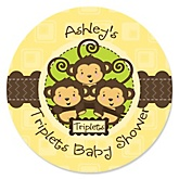 Triplet Monkeys Neutral - Personalized Baby Shower Round Sticker Labels - 24 Count