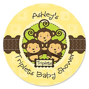 Triplet Monkeys Neutral - Personalized Baby Shower Sticker Labels - 24 ct