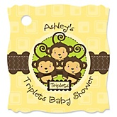 Triplet Monkeys Neutral - Personalized Baby Shower Tags - 20 Count