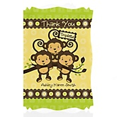 Triplet Monkeys Neutral - Personalized Baby Shower Thank You Cards