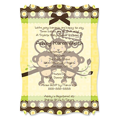 Triplet Monkeys Neutral - High Quality Vellum Overlay Baby Shower Invitations With Squiggle Shape Baby Shower Party Supplies