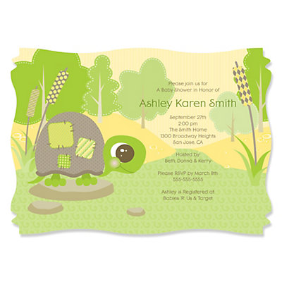 baby turtle personalized baby shower invitations bigdotofhappiness