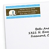 Twin Blue Baby Elephants - Personalized Baby Shower Return Address Labels - 30 ct