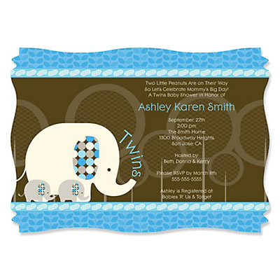 Twin Blue Baby Elephants - Personalized Baby Shower Invitations Baby Shower Party Supplies