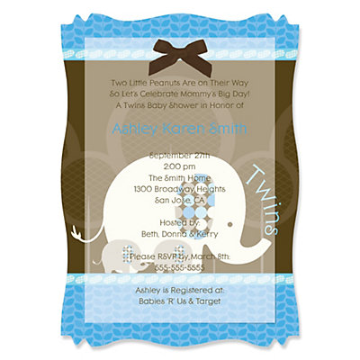 Twin Blue Baby Elephants - High Quality Vellum Overlay Baby Shower Invitations With Squiggle Shape Baby Shower Party Supplies