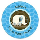 Twin Blue Baby Elephants - Personalized Baby Shower Round Sticker Labels - 24 Count