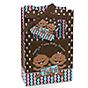 Twin Modern Babies 1 Boy & 1 Girl African American - Personalized Baby Shower Favor Boxes